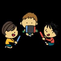 ゲームをする3人の男の子のフリーイラスト