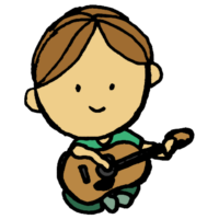 ギターを弾く男性のフリーイラスト