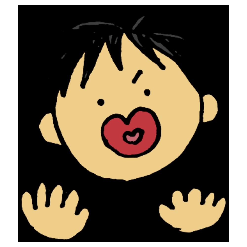 手書き風,表情,顔,フェイス,人物,体のパーツ,驚く,ビックリ,ビビる,びっくりする,男の子