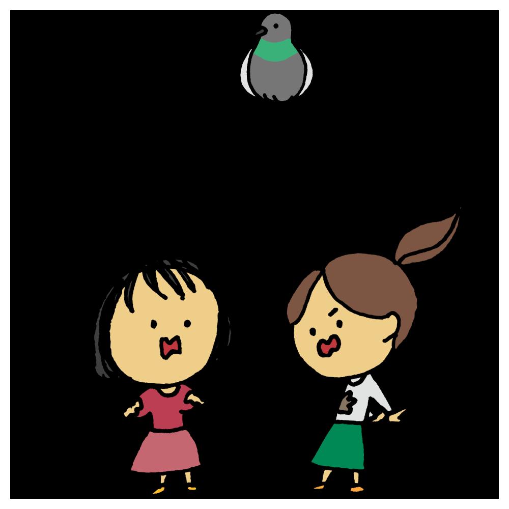 手書き風,人物,女性,2人,友達,鳩,ハト,糞,フン,ビックリ,驚く,ショック,ハプニング