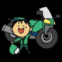 オートバイと喜ぶ男性のフリーイラスト