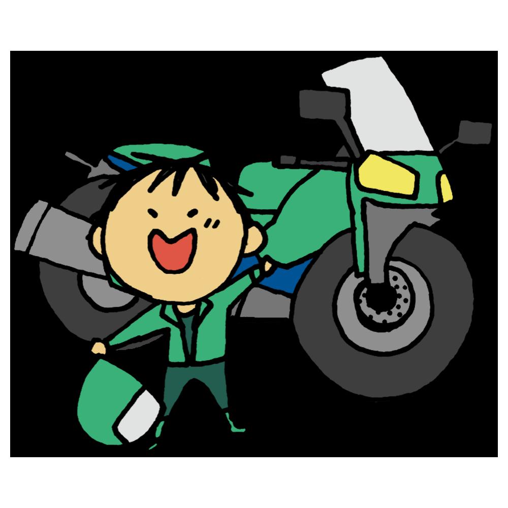 手書き風,乗り物,オートバイ,バイク,オートバイク,2輪,自動二輪車,単車,モーターバイク,モーターサイクル,人物,男性,喜ぶ,乗物