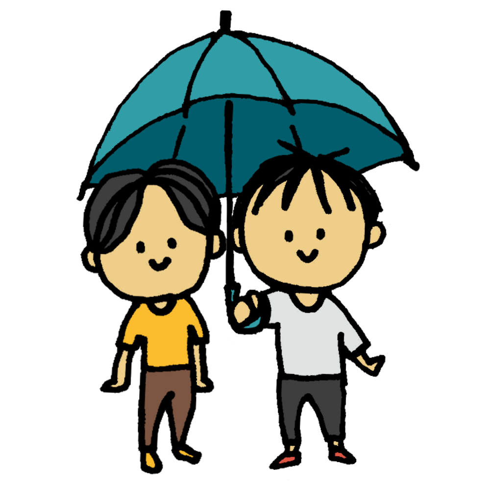 手書き風,人物,男性,傘,相合傘,2人,1つ,雨,かさ,カサ,さす,持つ