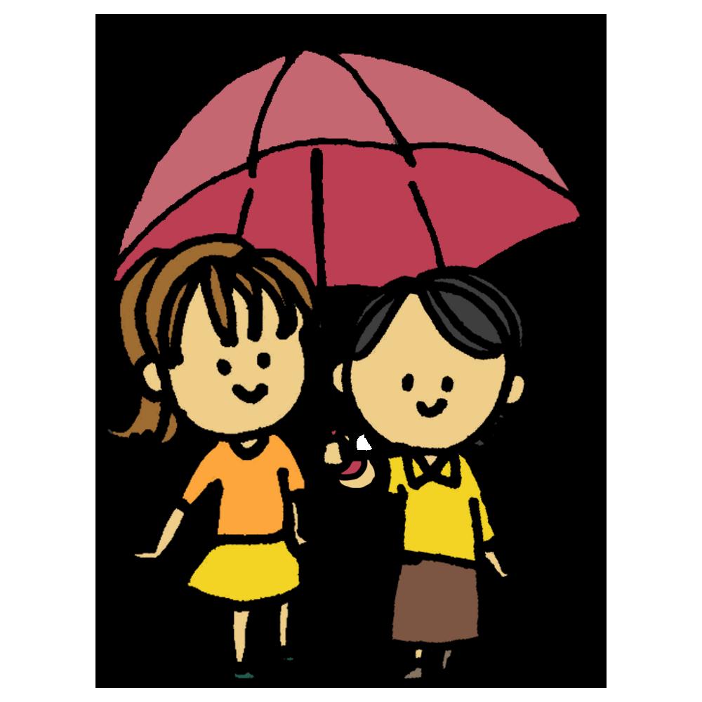 手書き風,人物,女性,傘,相合傘,2人,1つ,雨,かさ,カサ,さす,持つ