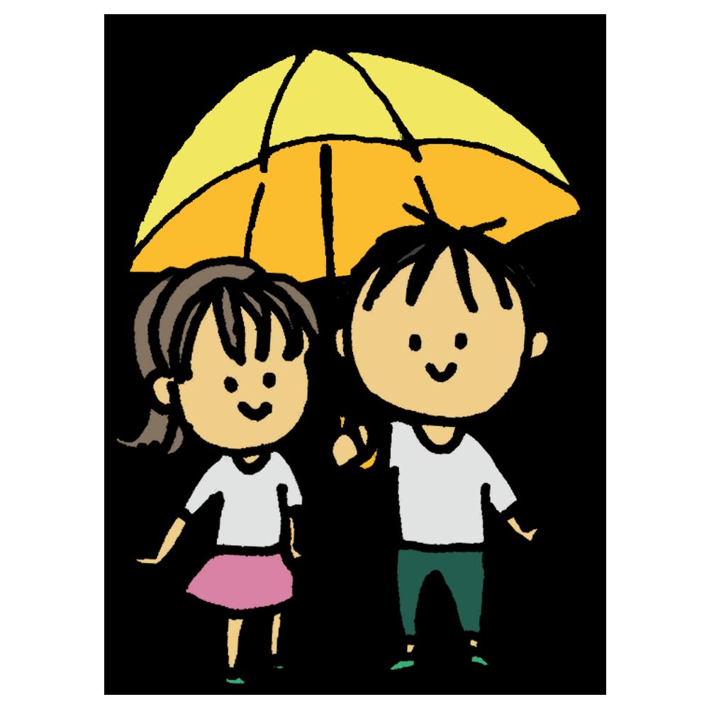 手書き風,人物,女性,傘,相合傘,2人,1つ,雨,かさ,カサ,さす,持つ,男性