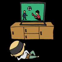 手書き風,人物,男性,サッカー,後姿,テレビ,スポーツ,スポーツ観戦,寝る,寝っ転がる,TV,くつろぐ,中年男性,後ろ姿