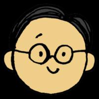 手書き風,人物,顔,体のパーツ,フェイス,男性,丸眼鏡,メガネ,笑顔,困り顔