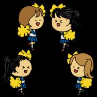 チアリーダーの4人の女の子のフリーイラスト