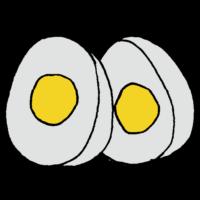 手書き風,食べ物,卵,たまご,タマゴ,食べる,鶏,産む,茹で卵,茹でる,固い,割れない,われない,料理