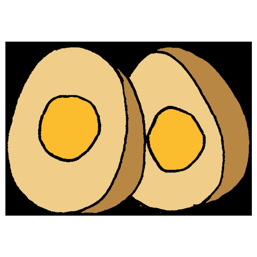 手書き風,食べ物,卵,たまご,タマゴ,食べる,鶏,産む,茹で卵,茹でる,固い,割れない,われない,料理,味付け煮卵,醤油,味が染みる,しみしみ