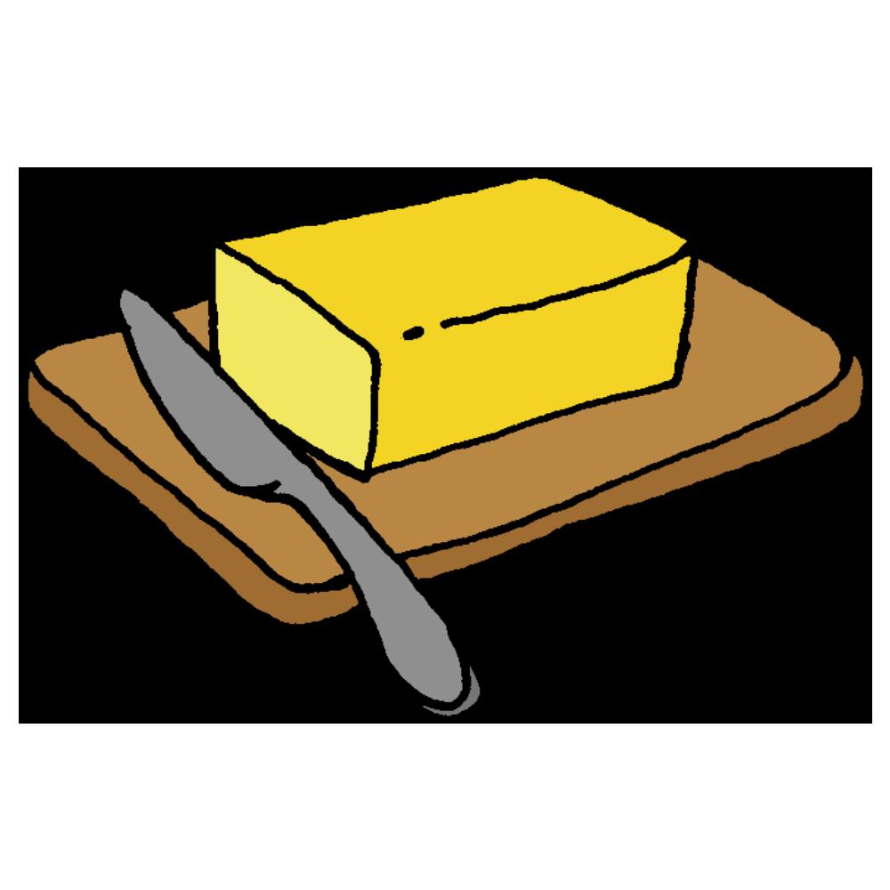 手書き風,食べ物,食材,バター,バターナイフ,食器,木の板,まな板,溶ける,溶かす,油,食品,使う,ばたー,塗る