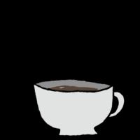 手書き風,飲み物,珈琲,コーヒー,こーひー,ホットコーヒー,温かい,温まる,カフェイン,眠気,食後,食前,カップ,冬,秋,湯気,苦い,大人