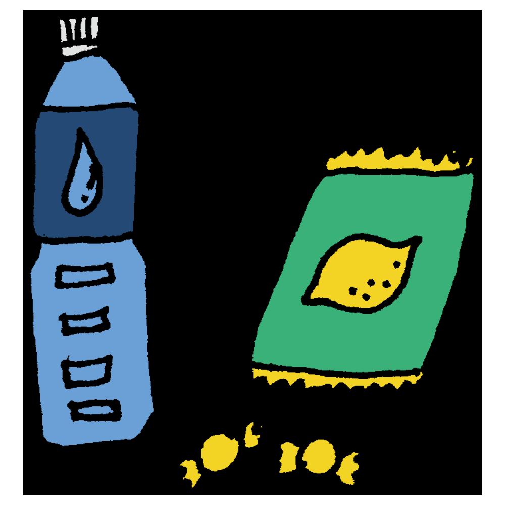 熱中症対策の水と飴のフリーイラスト