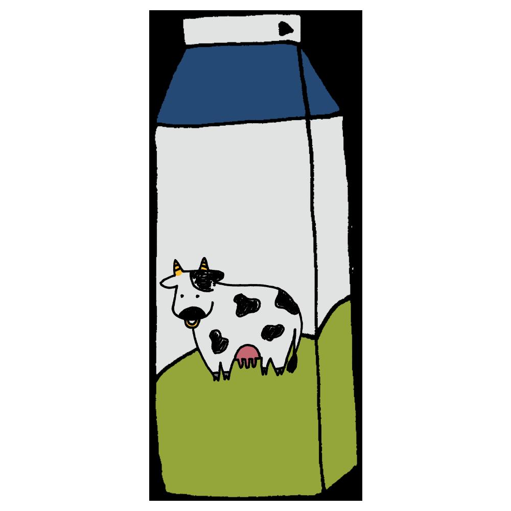 1Lの牛乳パックのフリーイラスト