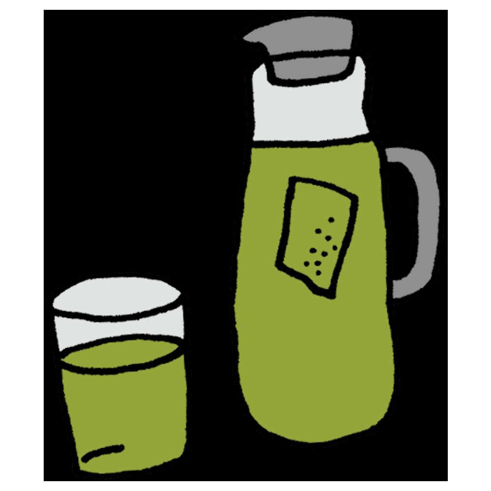 冷たい緑茶のフリーイラスト