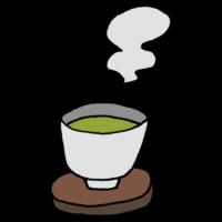 手書き風,温かい,緑茶,日本,お茶,茶葉,湯呑,おちゃ,ゆのみ,りょくちゃ,飲む,和,すする,カフェイン,水分,温まる,ホッとする,湯気