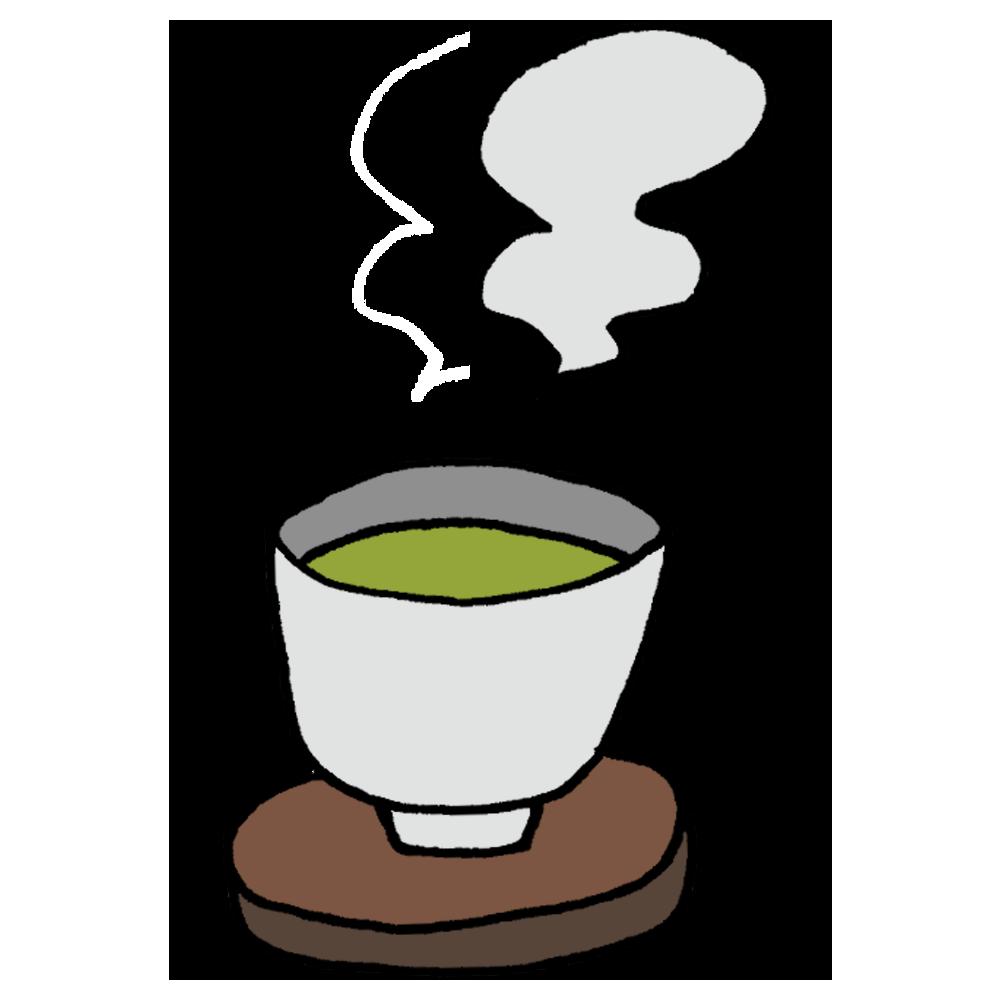 温かい緑茶のフリーイラスト