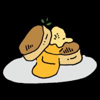 手書き風,食べ物,料理,パンケーキ,ふわふわ,アイス,生クリーム,甘い,スイーツ,グルメ,甘い,食べる
