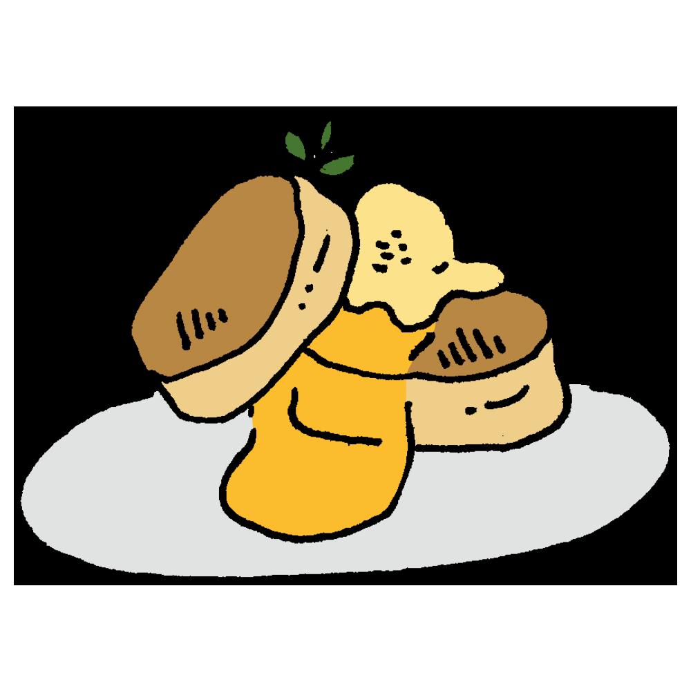 ふわふわなパンケーキのフリーイラスト
