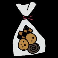 透明な袋に入った手作りクッキーのフリーイラスト