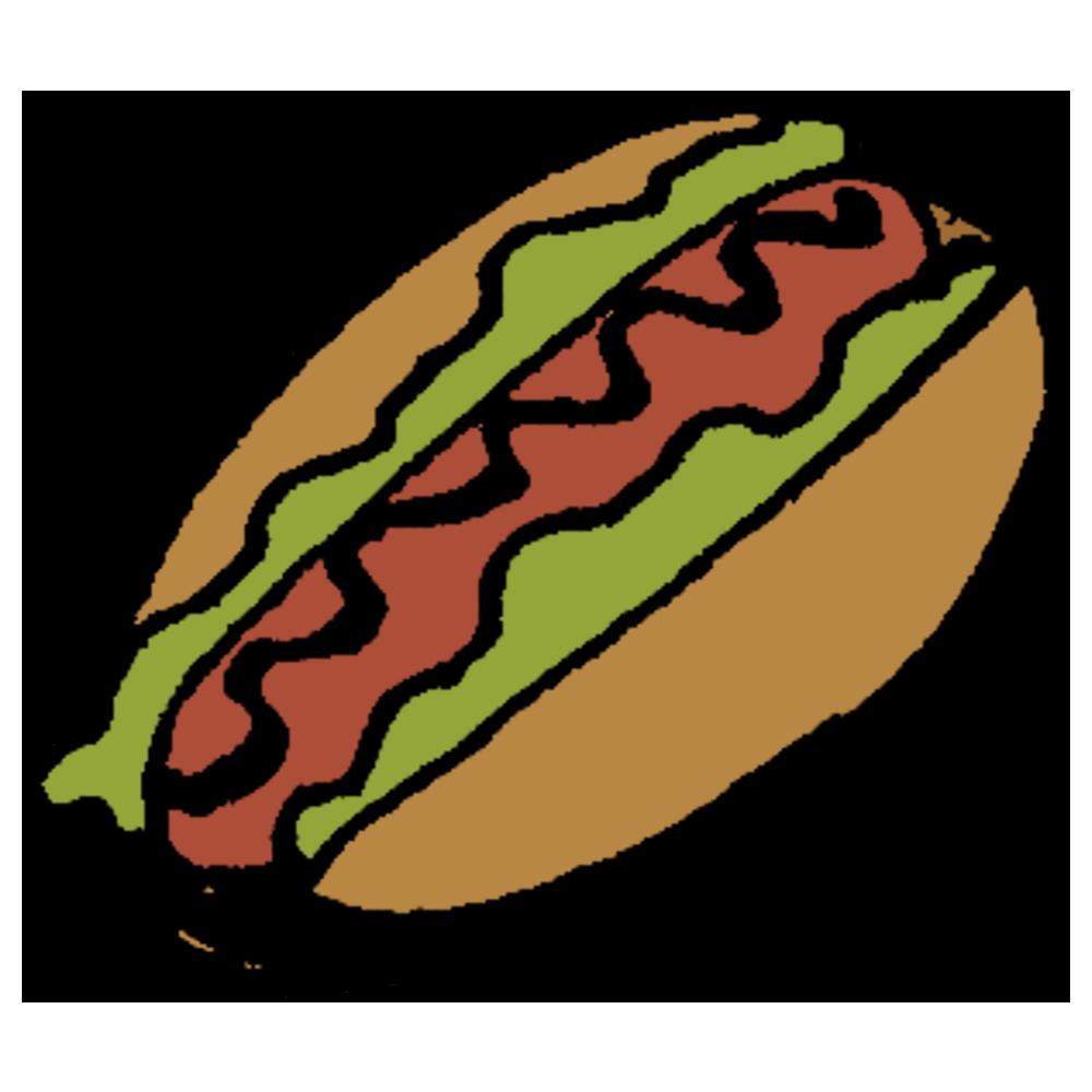 手書き風,食べ物,料理,パン,ホットドッグ,ホットドック,食べる,飲食,ファストフード,軽食,おやつ,朝ごはん,ピクニック,ランチ,ソーセージ,ウィンナー