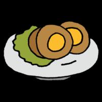 お皿に乗った味付け煮卵のフリーイラスト