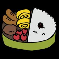 手書き風,食べ物,料理,お弁当,弁当,手作り,お母さん,食べる,美味しい,梅干し,卵,卵焼き,トマト,ミニトマト,ハンバーグ,ウィンナー,ソーセージ