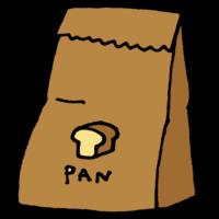 手書き風,食べ物,料理,パン,紙袋,袋,食べる,お昼,昼食,ランチ,ピクニック,お持ち帰り,テイクアウト,パン屋さん,パン屋,パン,小麦粉