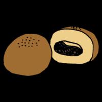 手書き風,食べ物,パン,アンパン,あんぱん,餡子,菓子パン,あんこ,甘い,パン屋,料理,焼く,こねる,餡子を詰める,小麦粉