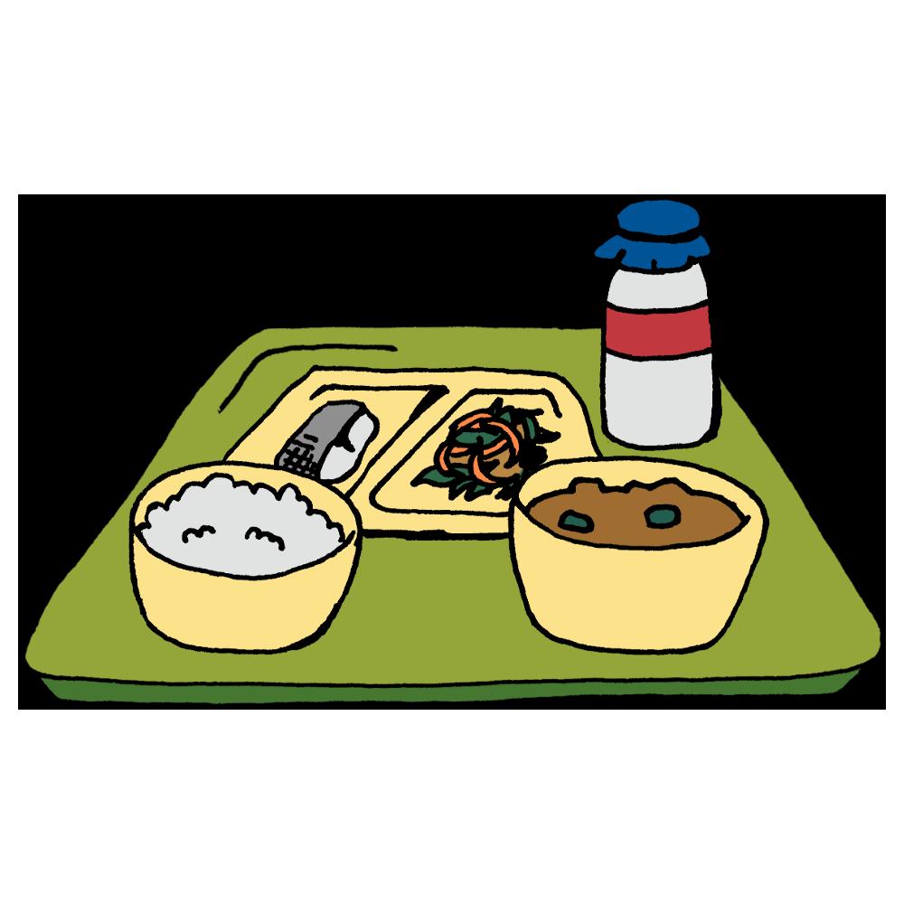 手書き風,食べ物,料理,給食,学校,ご飯,味噌汁,お魚,魚,牛乳,栄養,バランス,炒め物,おかず,主食,副菜,汁,おぼん