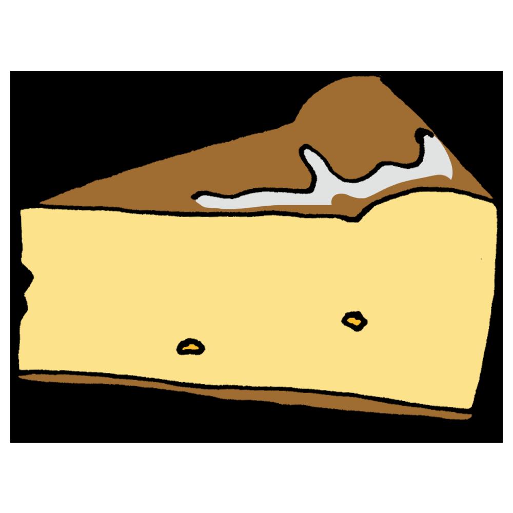 上部がテカテカしたチーズケーキのフリーイラスト