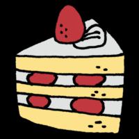 手書き風,ケーキ,スイーツ,甘い,西洋風,菓子,洋菓子,デザート,食後,おやつ,3時,生クリーム,ショートケーキ,苺,いちご,イチゴ,1ピース,1個,1切れ,1人前,8当分,6当分,分ける
