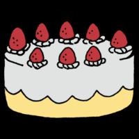 手書き風,ケーキ,スイーツ,甘い,西洋風,菓子,洋菓子,デザート,食後,おやつ,3時,生クリーム,ショートケーキ,苺,いちご,イチゴ,ホール,大きい,1ホール,お祝い,誕生日,イベント,めでたい,おめでとう,おめでとうございます