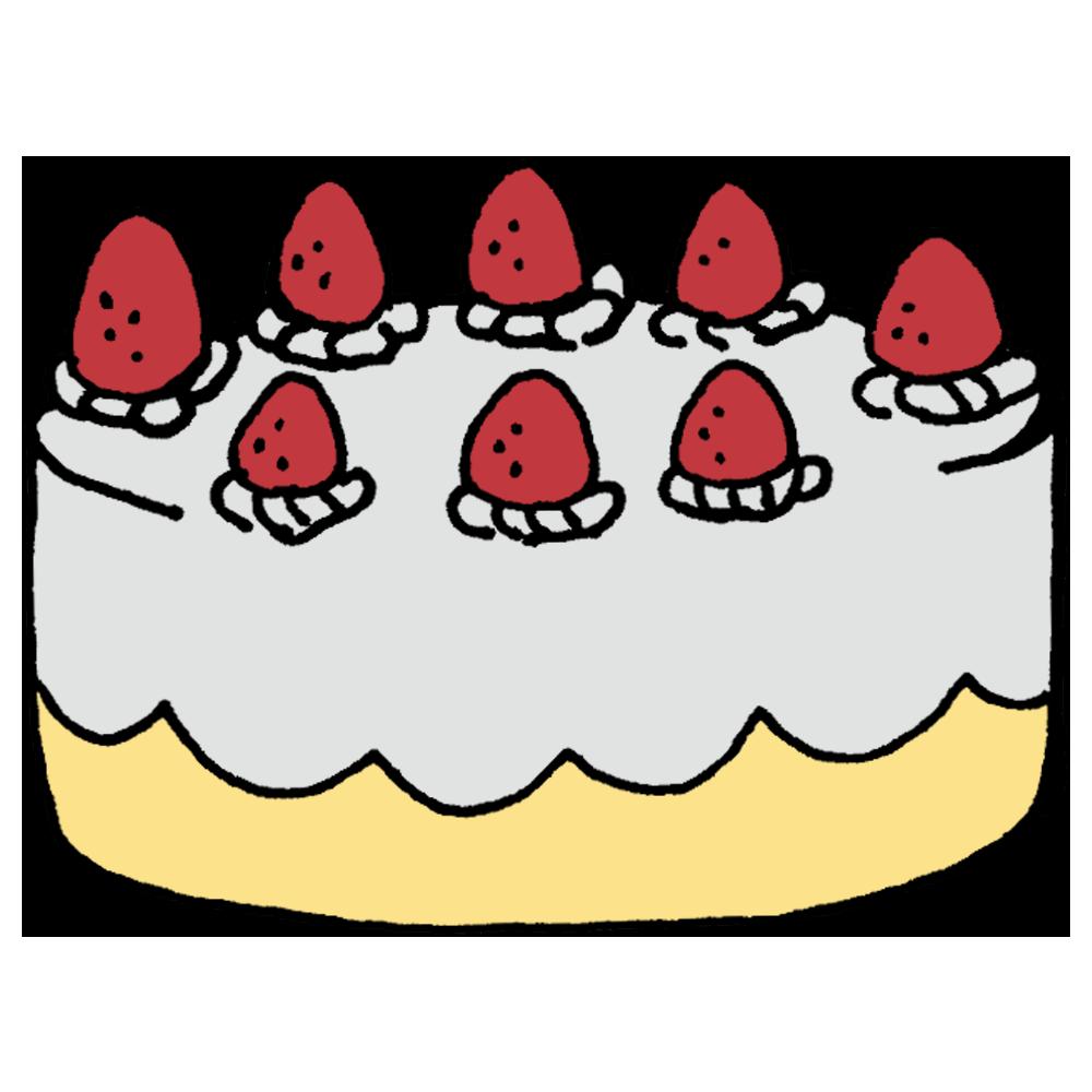 大きなホールのショートケーキのフリーイラスト