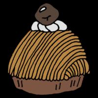 手書き風,ケーキ,スイーツ,甘い,西洋風,菓子,洋菓子,デザート,食後,おやつ,3時,モンブラン,山,栗,白い山,もんぶらん