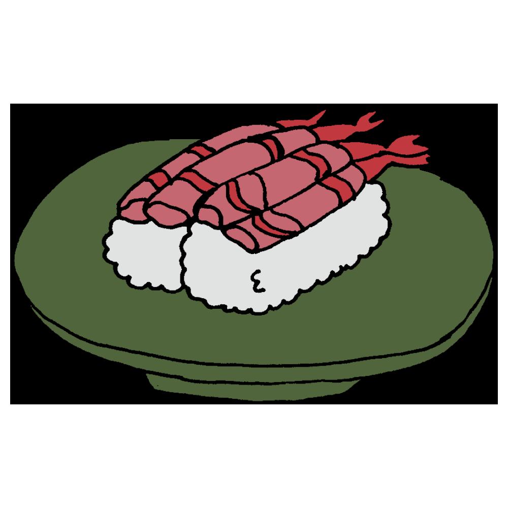 甘エビのお寿司のフリーイラスト