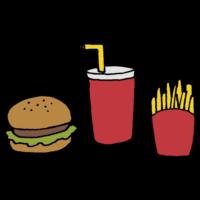 手書き風,食べ物,料理,ファストフード,食べる,ジャンクフード,ハンバーガー,ジュース,ポテト,カロリー,美味しい,早い,栄養