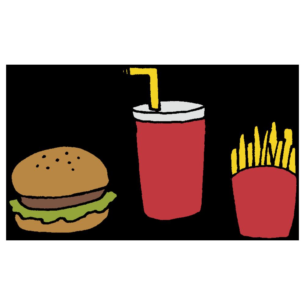 ハンバーガーとジュースとポテトのフリーイラスト