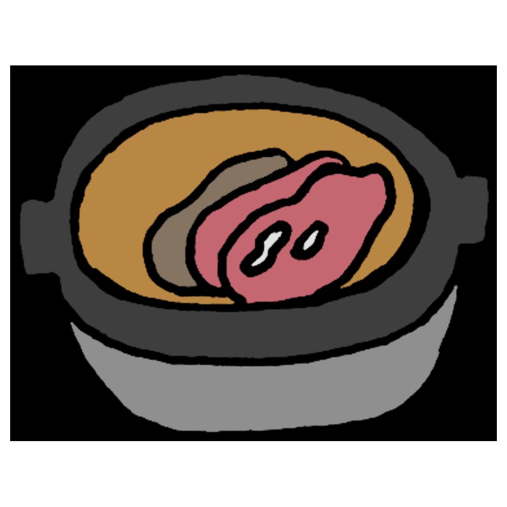 手書き風,食べ物,すき焼き,肉,肉料理,鍋,作り途中,熱い,生肉,醤油,牛肉