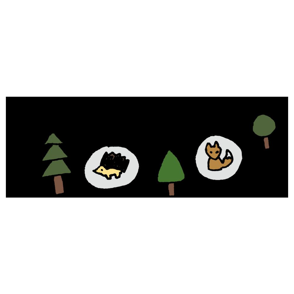 動物のガーランドのフリーイラスト