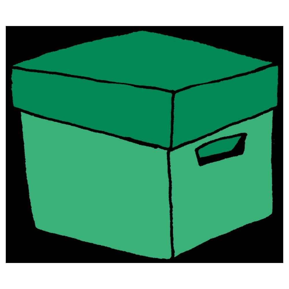 ダンボールでできた蓋つきの収納ボックスのフリーイラスト
