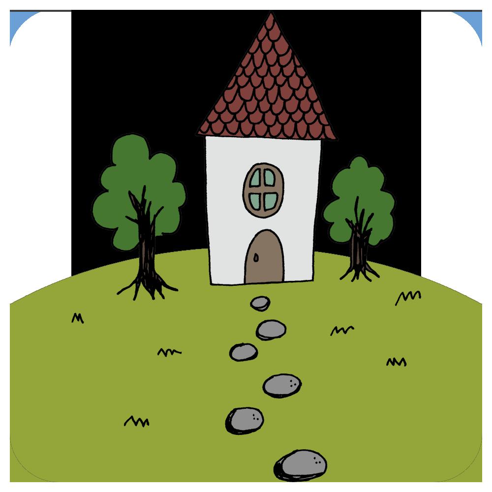 家,建物,北欧風,民家,ハウス,木,庭,一軒家,手書き風,北欧,建つ,マイホーム,建てる,お洒落,おしゃれ,木,石
