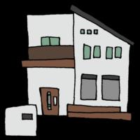 手書き風,家,お家,ハウス,住宅,民家,住む,暮らす,一般家庭,窓,ドア,窓,建物,生活,一戸建て,二階建て,ウッドデッキ,ベランダ,お洒落,おしゃれ,今時