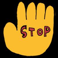 手にSTOPと書かれた記号のフリーイラスト