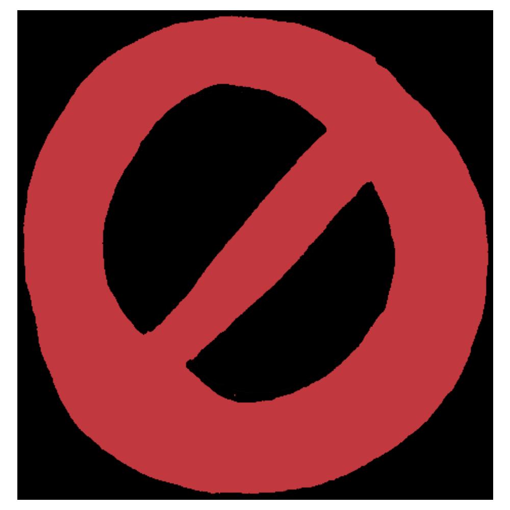 丸の中に斜め線が入った禁止の記号のフリーイラスト