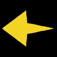 左向きの末広がりな矢印のフリーイラスト