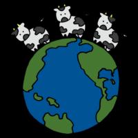 地球の上に3頭のウシのフリーイラスト