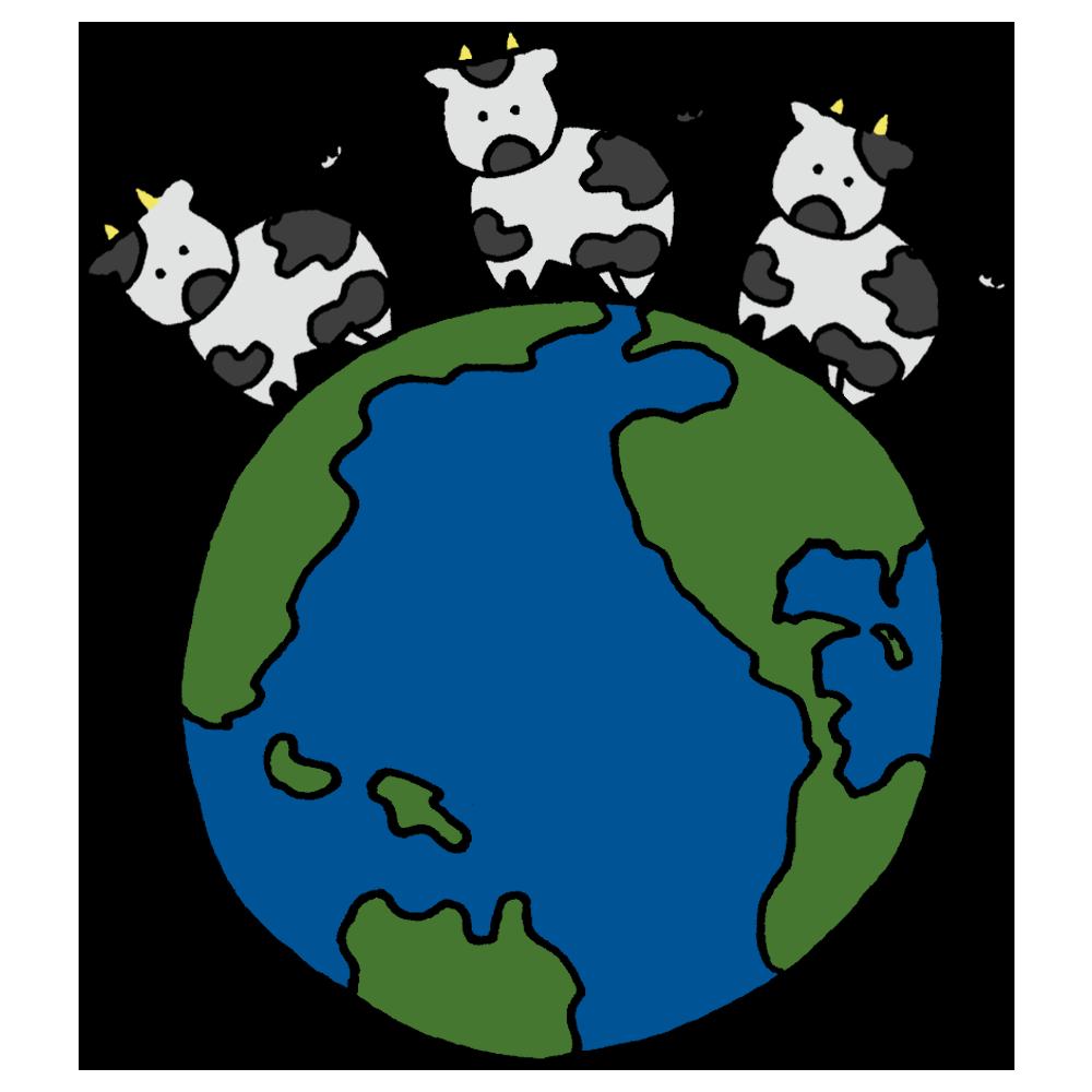 手書き風,年賀状,2021年,正月,お正月,イベント,牛,うし,ウシ,十二支,干支,動物,地球,乗る,上,3頭