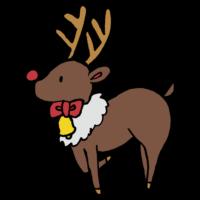 手書き風,動物,トナカイ,となかい,クリスマス,Xmas,リボン,鈴,走る,Christmas,リンリン,冬,イベント