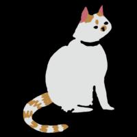 座る斜め横向きのネコのフリーイラスト